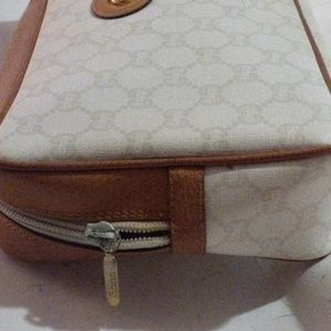 Gucci Bags - Vintage Camel Leather Logo Ivory Canvas Clutch
